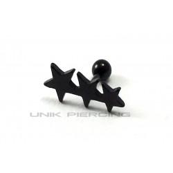 Piercing Tragus Hélix 3 étoiles blackline
