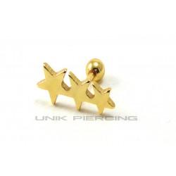 Piercing Tragus Hélix 3 étoiles plaqué or