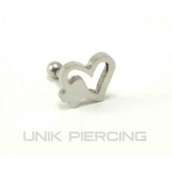 Piercing tragus/cartilage lobe coeur