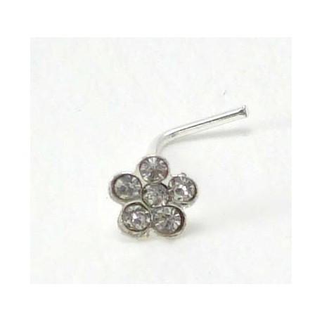 Piercing nez fleur cristal blanc argent 925