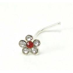 Piercing nez fleur cristal rouge  argent 925