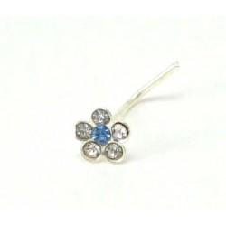 Piercing nez fleur cristal bleu ciel argent