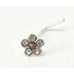 Piercing nez fleur cristal violet argent 925