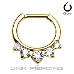 Piercing septum 5 cristaux plaqué or 1.6mm