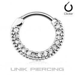Piercing septum/cartilage cercle cristal 1.2mm