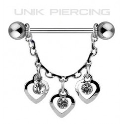 Piercing téton pendant chaine 3 coeurs