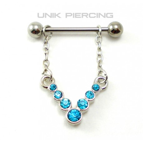Piercing téton pendant 5 cristaux bleu