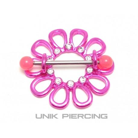 Piercing téton  fleur fushia