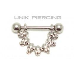 Piercing téton  crane cristal