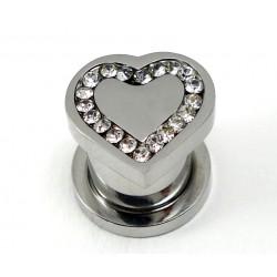 Plug  forme coeur cristal acier