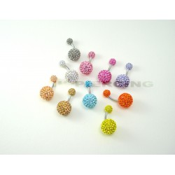 Piercing nombril swarovski  double boule