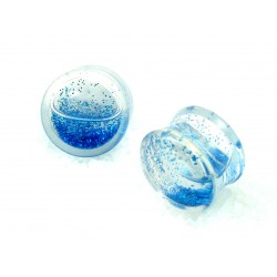 Plug Acrylique Liquide paillettes  bleues