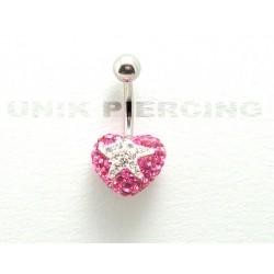 Piercing nombril swarovski coeur étoile rose