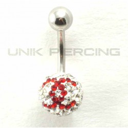 Piercing nombril swarovski CC  boule simple bleu foncé