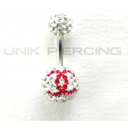Piercing nombril swarovski Chanel boule  double violet