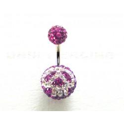 Piercing nombril swarovski émo boule violet