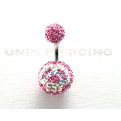 Piercing nombril swarovski émo boule rose