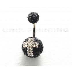 Piercing nombril swarovski croix boule noire