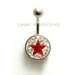 Piercing nombril swarovski étoile rouge