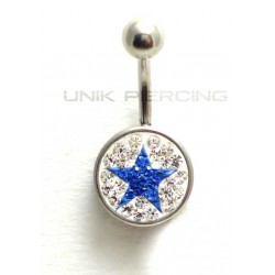 Piercing nombril swarovski étoile bleu foncé