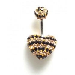 Piercing nombril swarovski coeur rayure champagne