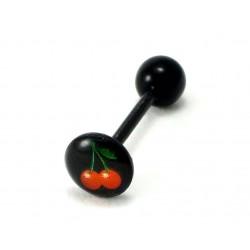 Piercing langue Bioplast noir cerise