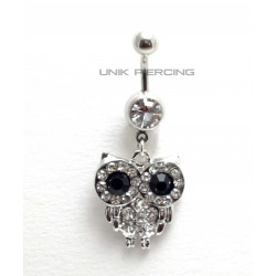 Piercing nombril chouette cristal