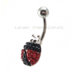 Piercing nombril swarovski  Coccinelle noire