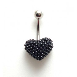 Piercing nombril coeur perle de culture noir