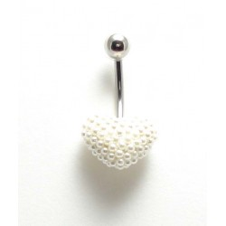 Piercing nombril coeur perle de culture blanc