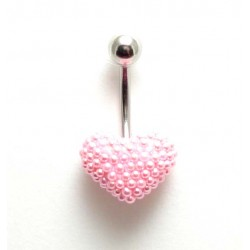 Piercing nombril coeur perle de culture rose