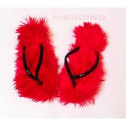 Tongs à poils rouge