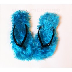Tongs à poils bleu
