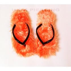 Tongs à poils orange