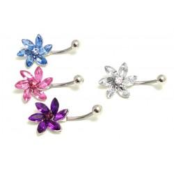 Piercing nombril fleur cristal