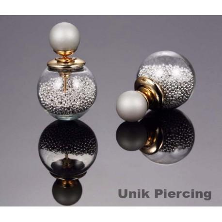 Boucles D'oreilles Boule Double perles grises