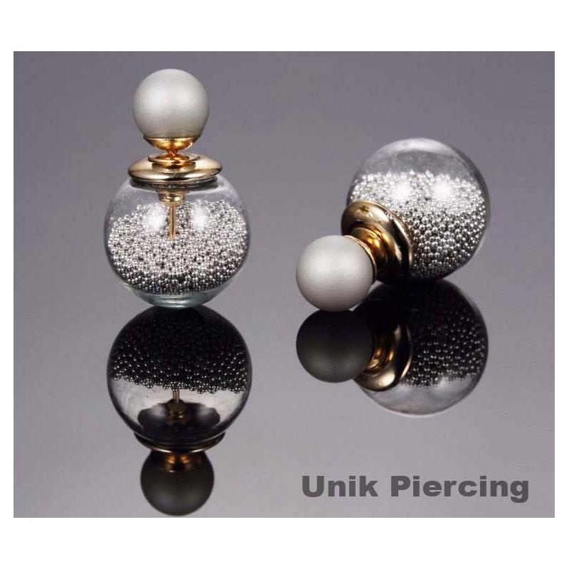 boucles d 39 oreilles boule double perles grises. Black Bedroom Furniture Sets. Home Design Ideas