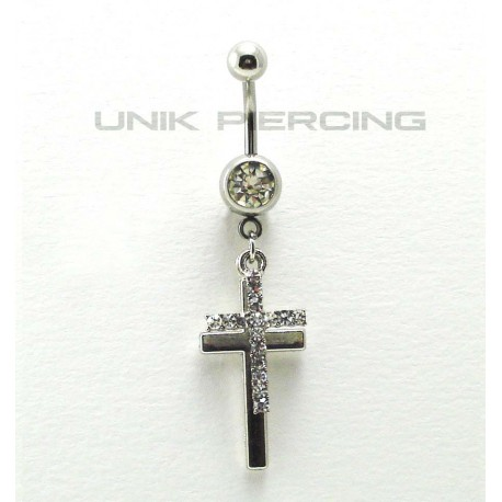 Piercing nombril  double Croix cristal