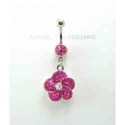 Piercing nombril swarovski acier fleur