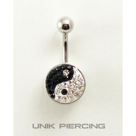 Piercing nombril swarovski acier ying yang noir