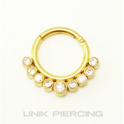 Piercing Septum clipable Plaqué Or cristaux