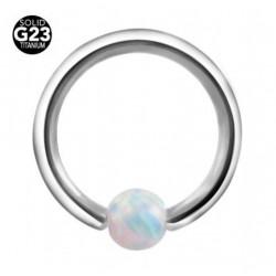Piercing anneau opale blanche