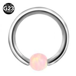 Piercing anneau opale rose
