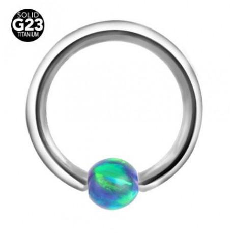 Piercing anneau opale bleue