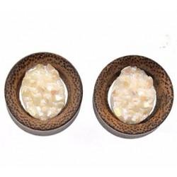 Plug Bois de coco pierre blanche