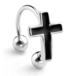 Piercing anneau croix noire