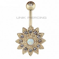 Piercing Nombril Fleur Opale Plaqué Or