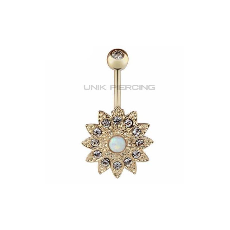 piercing nombril fleur opale plaqu or