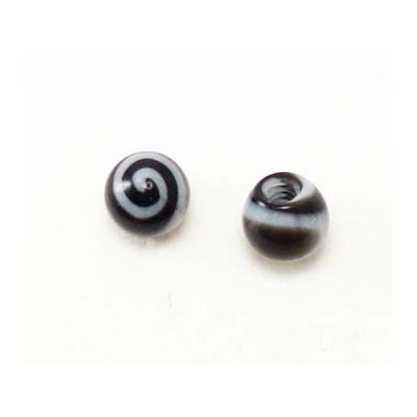 Bille Acrylique spirale noire 1.2mm