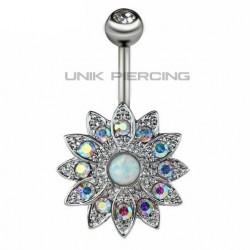 Piercing Nombril Fleur Opale Acier